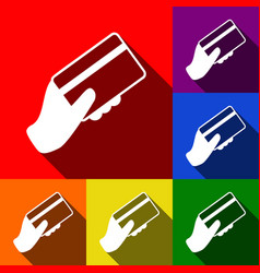 hand holding a credit card set of icons vector image