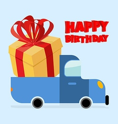 Happy birthday Truck carries large gift box Yellow vector