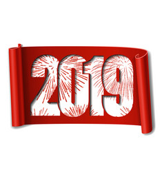 Happy new year card white number 2019 red vector