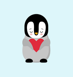 happy valentines day in love penguin penguin vector image