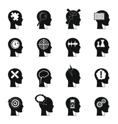 head logos icons set simple style vector image