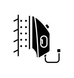 Iron steamer icon black sign vector