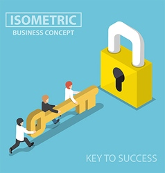 Isometric business team holding golden key to unlo vector