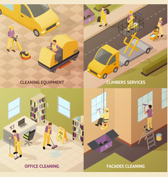 Isometric industrial cleaning concept vector