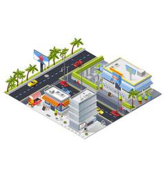 isometric urban landscape with street restaurant vector image