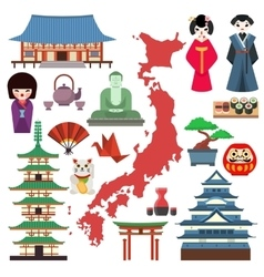 Japan culture icons vector
