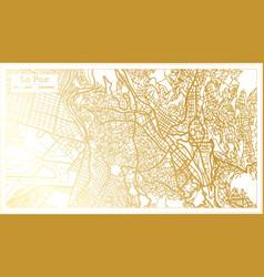 la paz bolivia city map in retro style in golden vector image