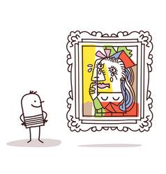 Man watching a pablo imitation vector