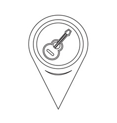 map pointer guitar icon vector image