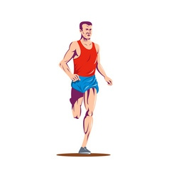 marathon runner running race vector image vector image