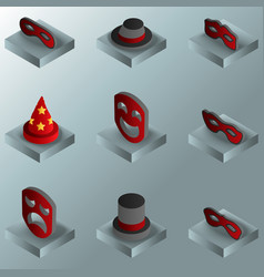 masquerade color gradient isometric icons vector image