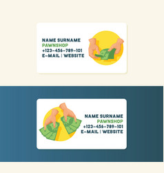 money business card with stack dollar vector image