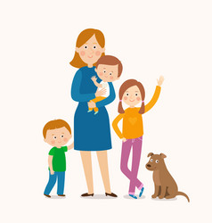mother standing with her three children vector image