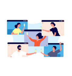 online party friends celebrate birthday meeting vector image