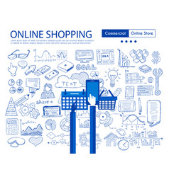 online shopping concept with business doodle vector image