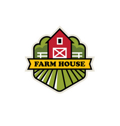 organic farm logo with red barn vector image
