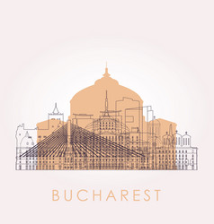 Outline bucharest skyline with landmarks vector