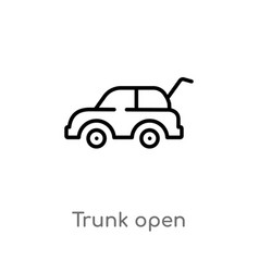 Outline trunk open icon isolated black simple vector