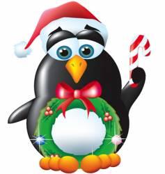 penguin Santa vector image
