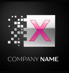 pink letter x logo symbol in the silver square vector image