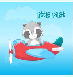 Postcard poster cute raccoon on plane vector