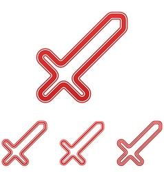 Red line sword logo design set vector