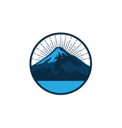Retro circle mountain logo with water wave element vector