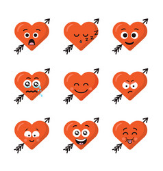 set of different emoticons emoji heart faces with vector image