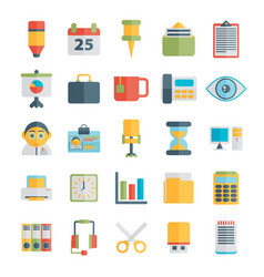 set of office icons in flat design vector image