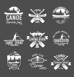 Set of vintage canoeing log vector