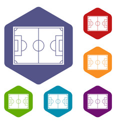 soccer field icons set hexagon vector image
