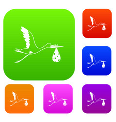 stork carrying set color collection vector image