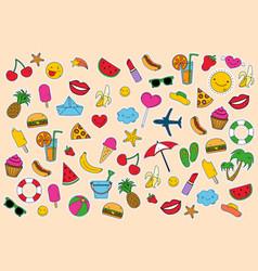 Summer day set of elements clip art set sticker vector