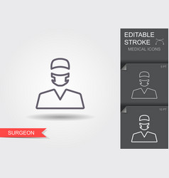 surgeon line icon with editable stroke vector image