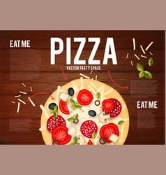 Tasty pizza with tomato wurst olive mushrumes vector