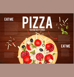 tasty pizza with tomatos wurst olive mushrumes vector image