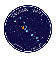 taurus zodiac constellation in space round icon vector image