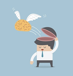The brain is flying out of the businessman head vector image