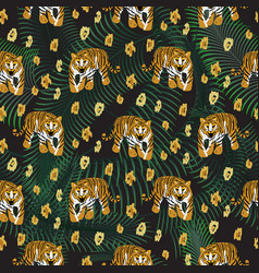 tiger and palm leaves jungle dark pattern fashion vector image