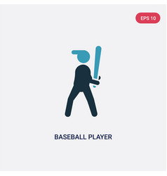 Two color baseball player with bat icon from vector