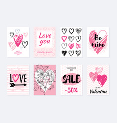 Valentine s day card design set poster with heart vector
