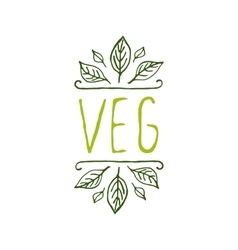 Veg product label on white background vector
