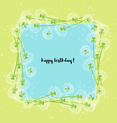 white dandelions square wreath on yellow vector image