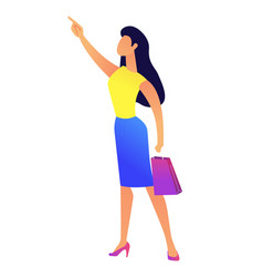 young business woman with shopping bag pointing vector image