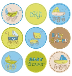Baby Boy Shower Party Set vector image vector image