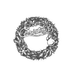 christmas hand drawn wreath vector image vector image
