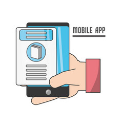 hand with technology smartphone vector image