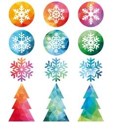 Polygonal Christmas set vector image vector image