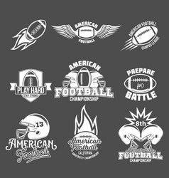 set of american football logo label vector image