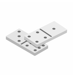 White domino dice with black dots sometric 3d icon vector image